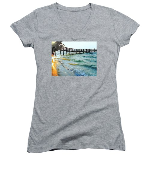 Women's V-Neck T-Shirt (Junior Cut) featuring the photograph Sanibel At Sunset by Janette Boyd