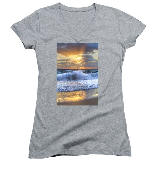 Splash Sunrise Women's V-Neck T-Shirt (Junior Cut) by Debra and Dave Vanderlaan