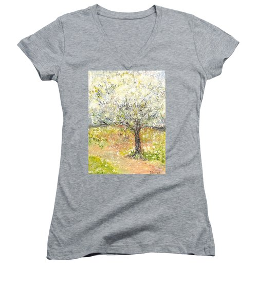 Women's V-Neck T-Shirt (Junior Cut) featuring the painting Spring by Evelina Popilian