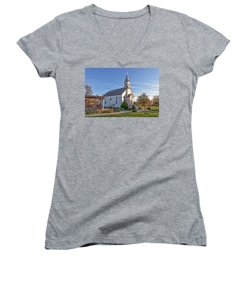 Women's V-Neck featuring the photograph St. Mary's Chapel by Jim Thompson