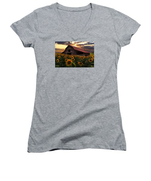 Sunflower Farm Women's V-Neck T-Shirt (Junior Cut) by Debra and Dave Vanderlaan