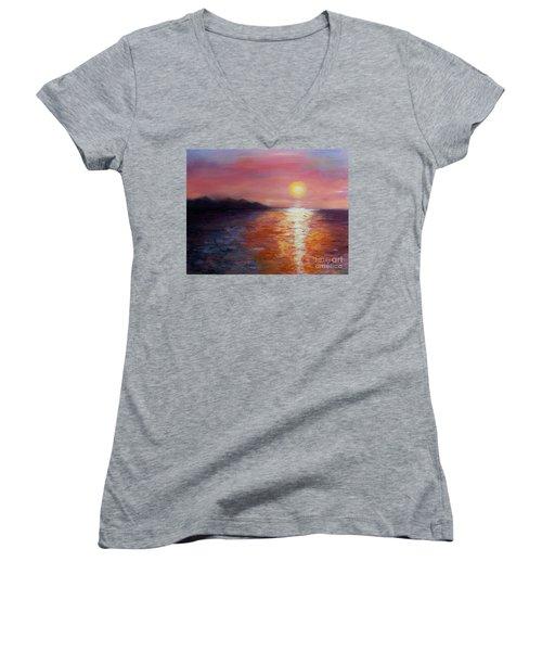 Sunset In Ixtapa Women's V-Neck T-Shirt (Junior Cut) by Marlene Book