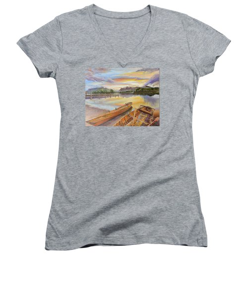 Sunset Over Serenity Lake Women's V-Neck T-Shirt (Junior Cut)