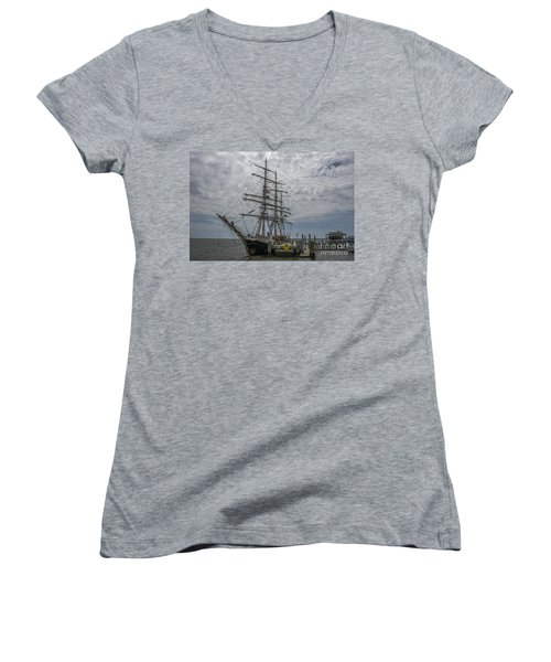 Women's V-Neck T-Shirt (Junior Cut) featuring the photograph Tall Ship Gunilla by Dale Powell