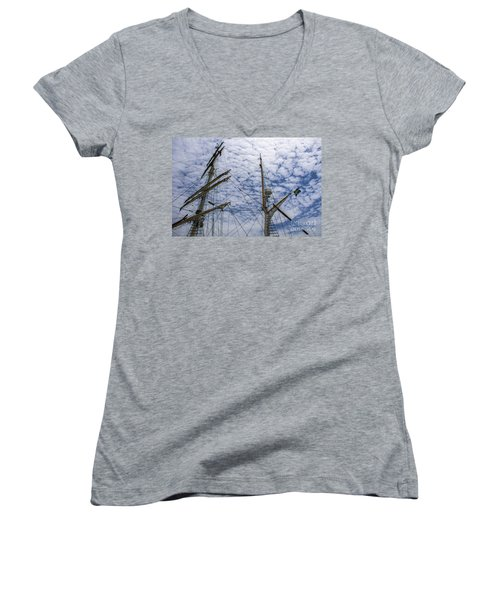 Tall Ship Mast Women's V-Neck T-Shirt (Junior Cut) by Dale Powell