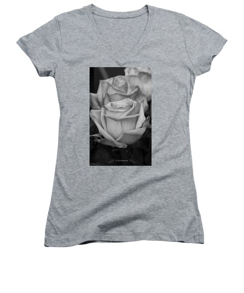 Tea Roses In Black And White Women's V-Neck T-Shirt (Junior Cut) by Jeanette C Landstrom