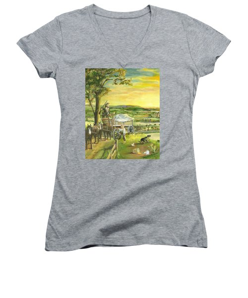 Women's V-Neck T-Shirt (Junior Cut) featuring the painting The Farm Boy And The Roads That Connect Us by Mary Ellen Anderson