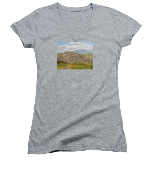 Women's V-Neck T-Shirt (Junior Cut) featuring the painting Tucumcari Mountain Reflections On Route 66 by Sheri Keith