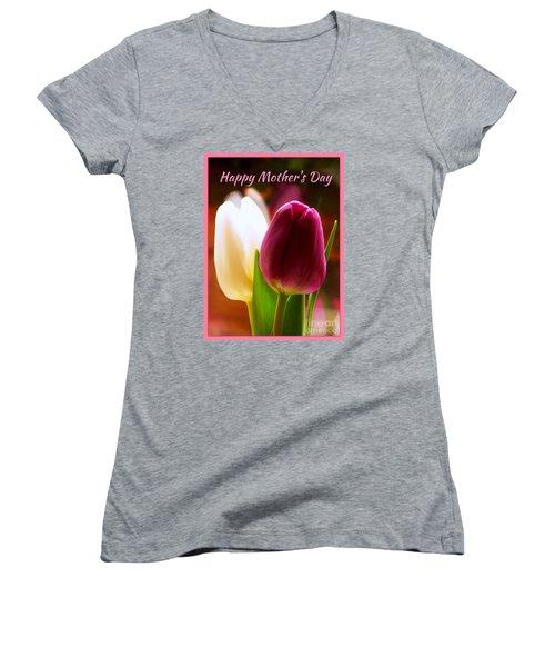 2 Tulips For Mother's Day Women's V-Neck T-Shirt