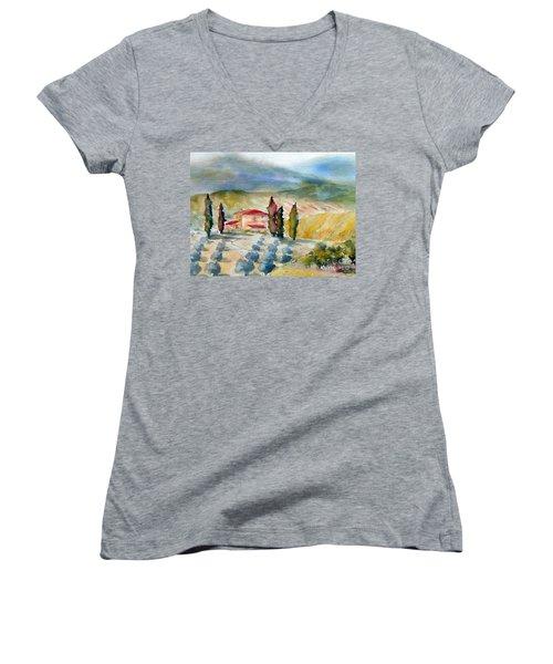 Tuscan Landscape Women's V-Neck