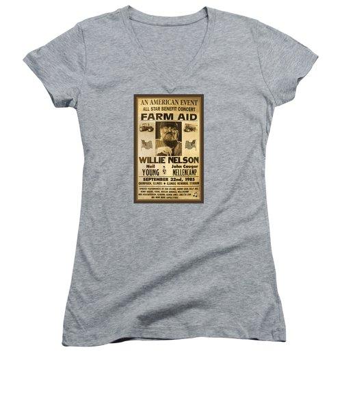 Vintage Willie Nelson 1985 Farm Aid Poster Women's V-Neck T-Shirt (Junior Cut) by John Stephens
