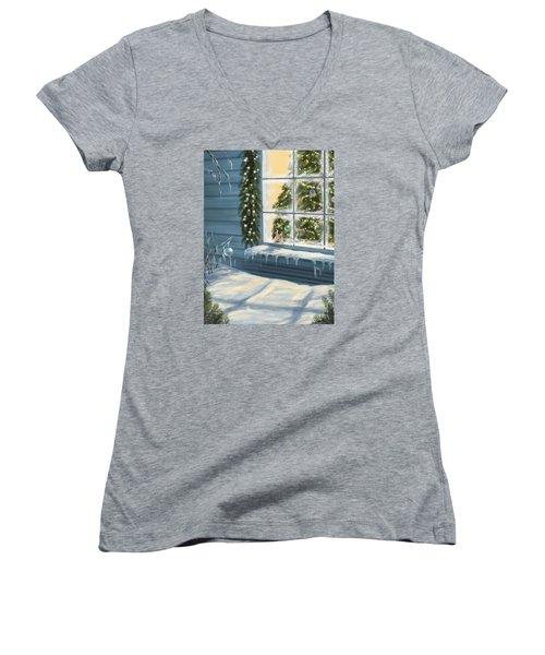 Waiting... Women's V-Neck T-Shirt (Junior Cut) by Veronica Minozzi
