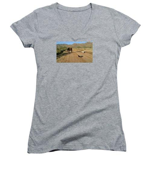 Three Friends On The Range Women's V-Neck T-Shirt