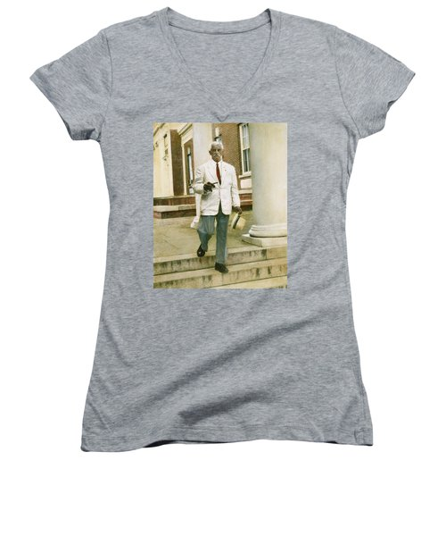 Women's V-Neck T-Shirt (Junior Cut) featuring the photograph William Faulkner (1897-1962) by Granger
