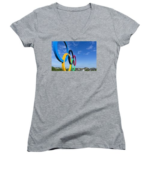 2012 Olympic Rings Over Edinburgh Women's V-Neck (Athletic Fit)