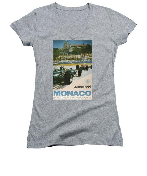 24th Monaco Grand Prix 1966 Women's V-Neck