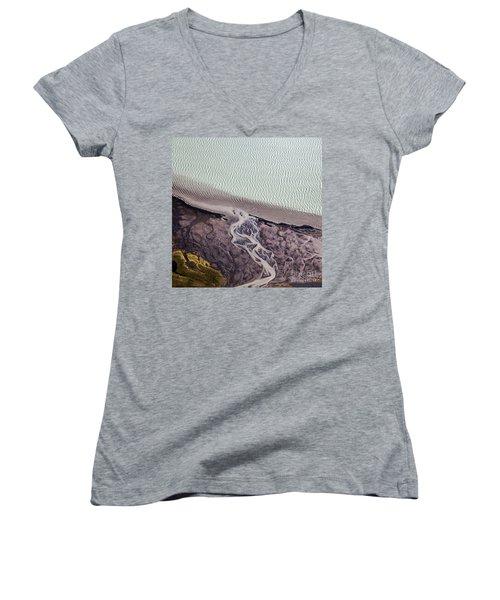 Women's V-Neck T-Shirt (Junior Cut) featuring the photograph Aerial Photography by Gunnar Orn Arnason