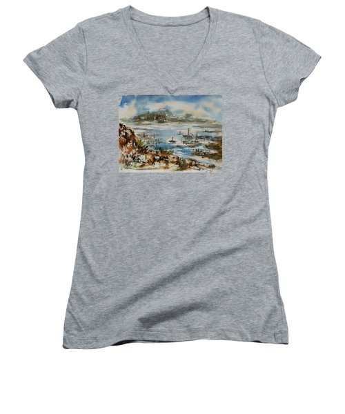 Women's V-Neck T-Shirt (Junior Cut) featuring the painting Bay Scene by Xueling Zou