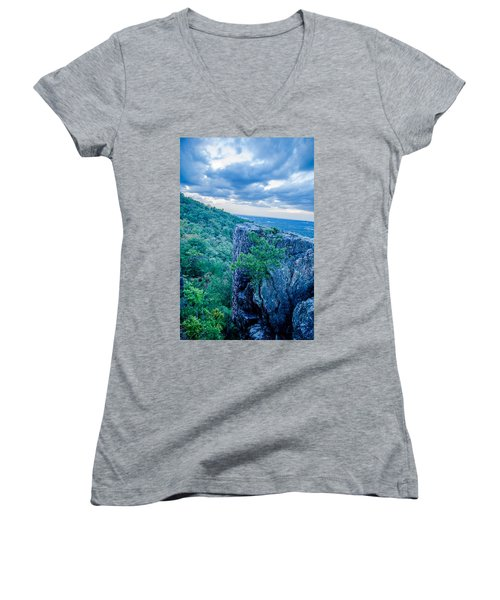 Beautiful Aerial Landscape Views From Crowders Mountain Near Gas Women's V-Neck
