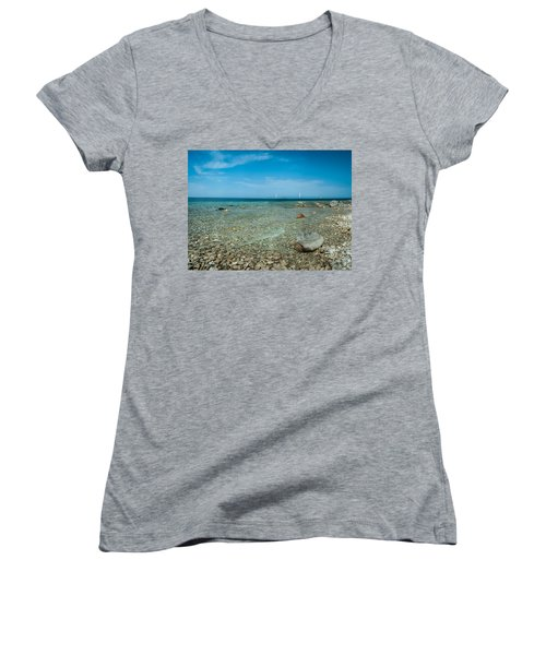 Women's V-Neck T-Shirt (Junior Cut) featuring the photograph Mackinac Bridge by Larry Carr