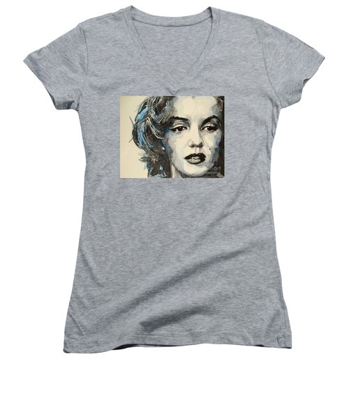 Marilyn Women's V-Neck T-Shirt (Junior Cut) by Paul Lovering