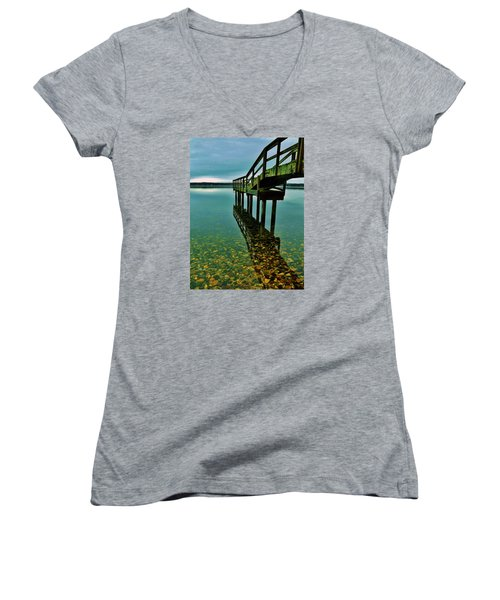 3 Mile Harbor Women's V-Neck T-Shirt (Junior Cut) by John Wartman