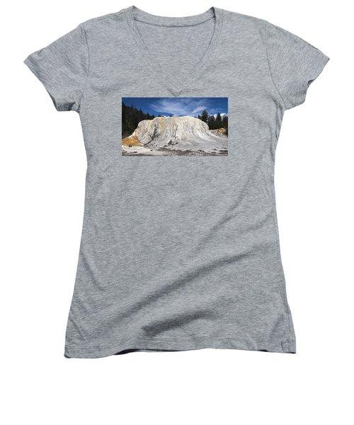 Orange Spring Mound Mammoth Hot Springs Yellowstone National Park Women's V-Neck T-Shirt