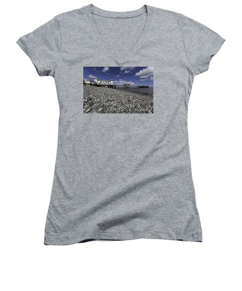 Penarth Pier 2 Women's V-Neck T-Shirt (Junior Cut) by Steve Purnell