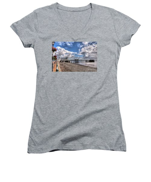 Penarth Pier 3 Women's V-Neck T-Shirt (Junior Cut) by Steve Purnell