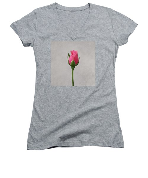 Pink Rosebud Women's V-Neck