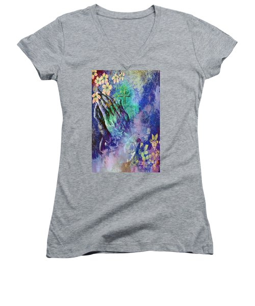 Praying Hands Flowers And Cross Women's V-Neck T-Shirt (Junior Cut) by Annie Zeno