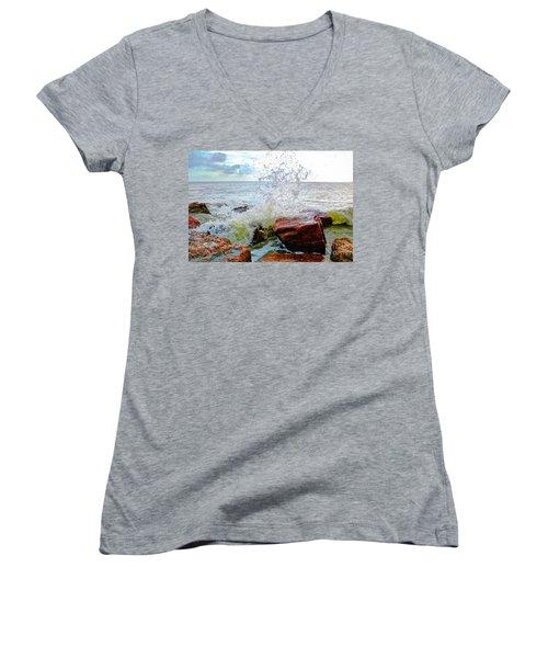 Quintana Jetty Women's V-Neck T-Shirt (Junior Cut) by Savannah Gibbs