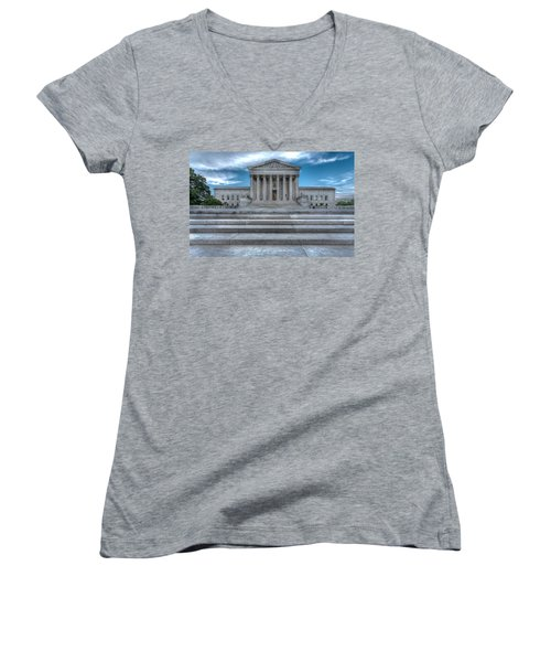 Women's V-Neck T-Shirt (Junior Cut) featuring the photograph Supreme Court by Peter Lakomy