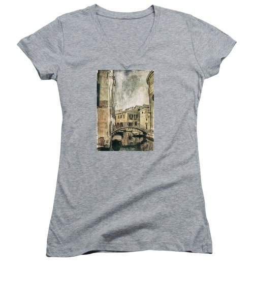 Venice Back In Time Women's V-Neck T-Shirt (Junior Cut) by Julie Palencia