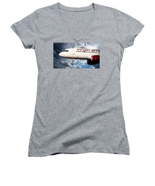 Women's V-Neck T-Shirt (Junior Cut) featuring the photograph Virgin America Mach Daddy by Aaron Berg