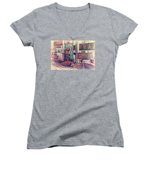 Women's V-Neck T-Shirt (Junior Cut) featuring the photograph 3-wok Kitchen by Jim Thompson