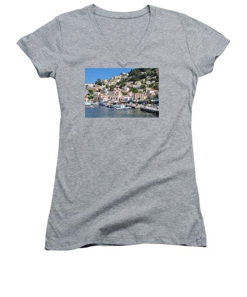 Yialos Harbour Symi Women's V-Neck T-Shirt