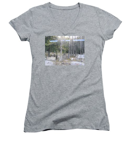 300yr Cemetery Women's V-Neck T-Shirt (Junior Cut) by Brian Williamson