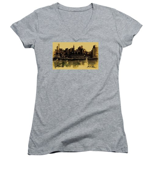 Boston Skyline Women's V-Neck T-Shirt