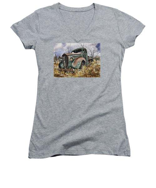 39 Ford Truck Women's V-Neck T-Shirt (Junior Cut) by Sam Sidders