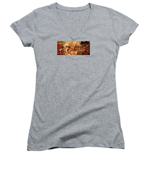 Women's V-Neck T-Shirt (Junior Cut) featuring the painting Battle Of Grunwald by Henryk Gorecki