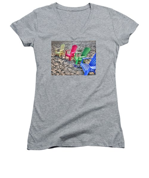 4 Beach Chairs Women's V-Neck T-Shirt (Junior Cut) by Michael Thomas
