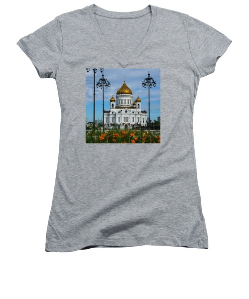 Cathedral Of Christ The Savior Of Moscow - Russia - Featured 3 Women's V-Neck T-Shirt (Junior Cut) by Alexander Senin