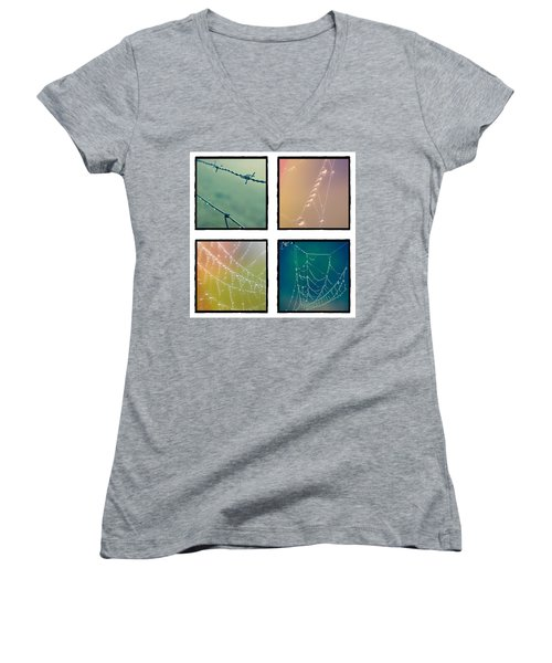 4 Color Web Droplets Women's V-Neck T-Shirt