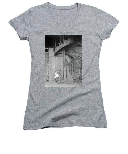 Women's V-Neck T-Shirt (Junior Cut) featuring the photograph New Orleans, C1925 by Granger