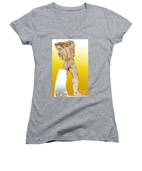 Women's V-Neck T-Shirt (Junior Cut) featuring the drawing Olympic Athletics Discus Throw by Greta Corens