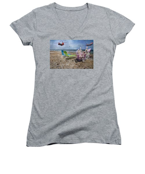 Search Party Women's V-Neck T-Shirt (Junior Cut) by Betsy Knapp
