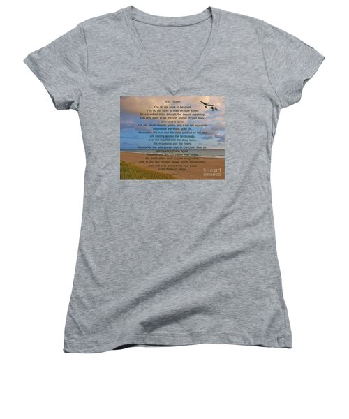 40- Wild Geese Mary Oliver Women's V-Neck T-Shirt