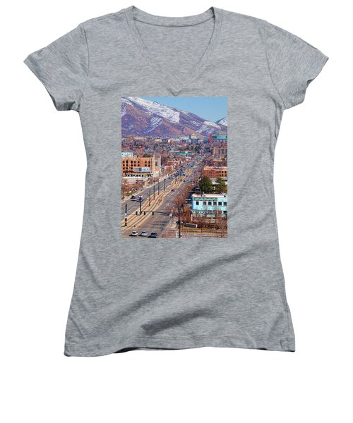 Women's V-Neck T-Shirt (Junior Cut) featuring the photograph 400 S Salt Lake City by Ely Arsha