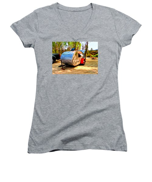 Women's V-Neck T-Shirt (Junior Cut) featuring the painting 47 Teardrop by Michael Pickett